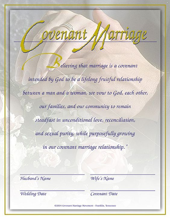 Marriage Covenant Certificate Love This Idea
