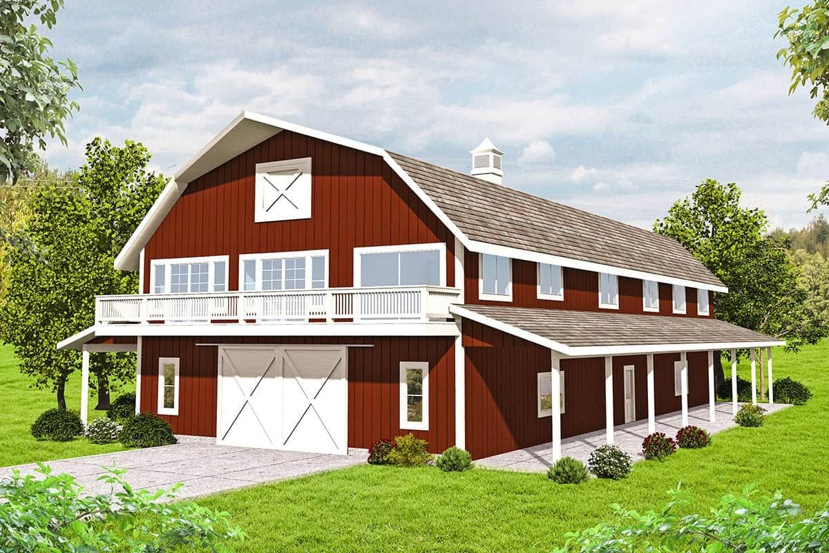 3 Bedroom Two Story Barn Style Home With Expansive Storage Floor Plan Barn Style House Plans Barn Style House Carriage House Plans