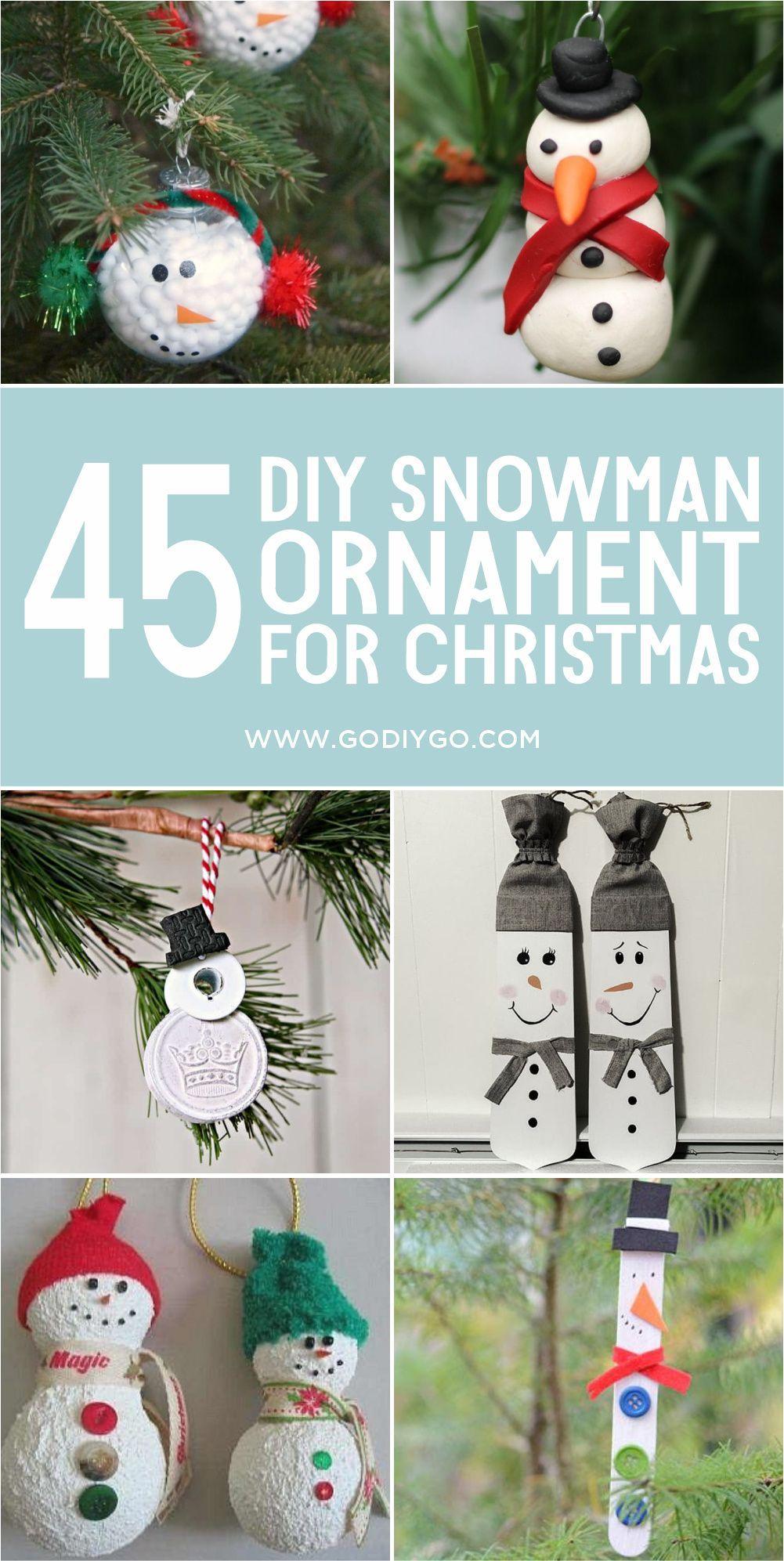 45 Diy Snowman Ornament For Christmas Godiygo Com Diy Snowman Ornaments Diy Snowman Ornaments