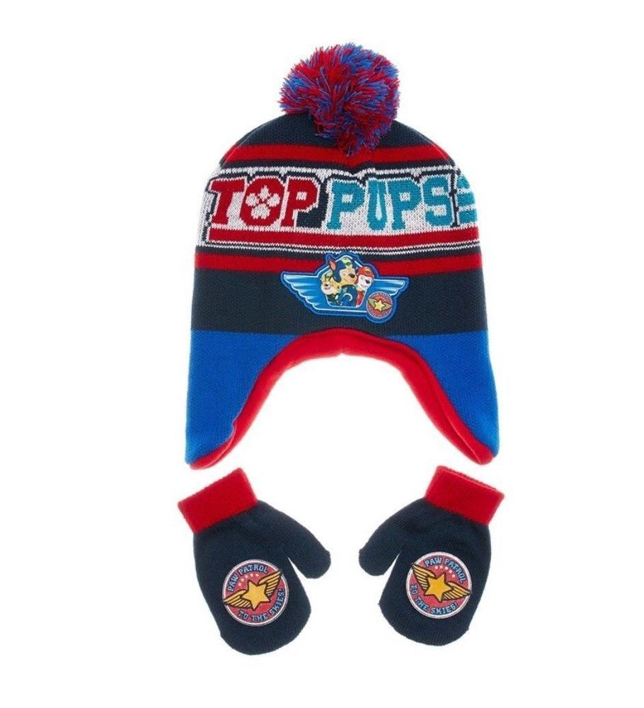 4aba247a81320a Paw Patrol Toddler Boys or Girls Pom Pom Peruvian Hat & Mittens Set One  Size New #Nickelodeon #Beanie
