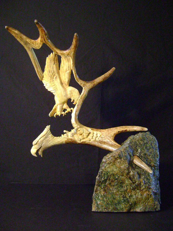 Moose antler carving eagle and fish carvings