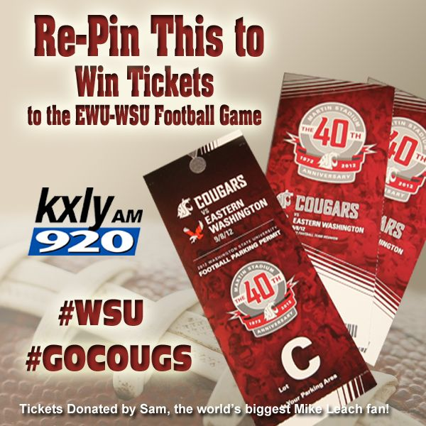 Re-Pin this official #GoCougs #WSU image to win the grand prize: 2 Tickets to Cougars Home Game on Saturday, Sept. 8th plus parking passes. Grand Prize winner announced during KXLY 920 Morning News on Friday Sept 7th. Please feel free to re-pin this numerous times. Good Luck.
