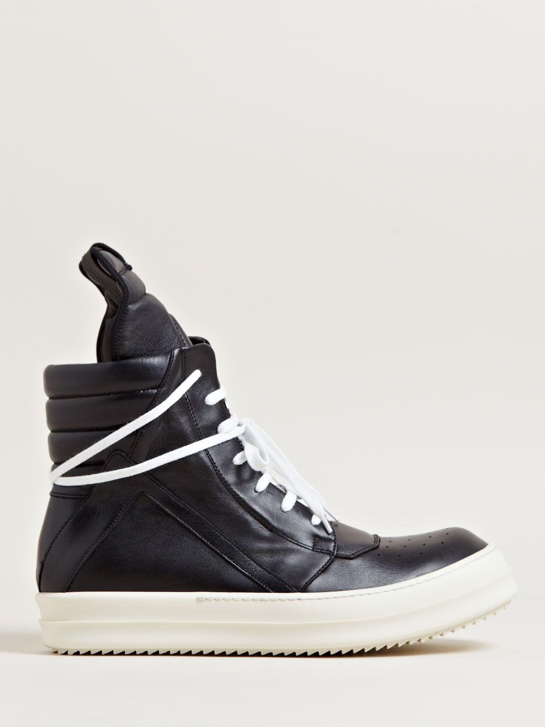 Chaussures De Sport En Cuir Noir Rick Owens PDmHk