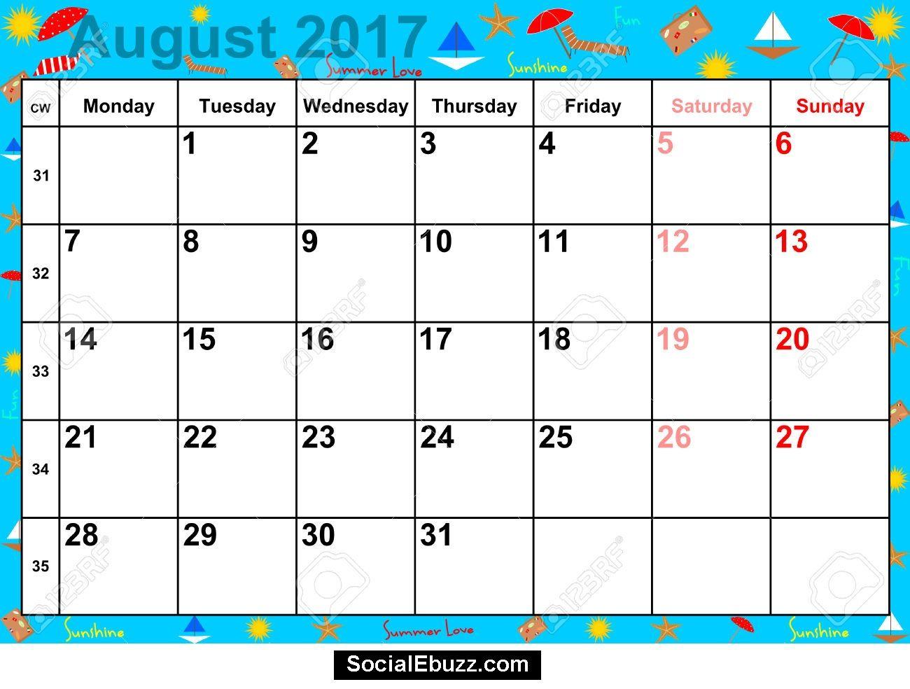 calendar 2017 august
