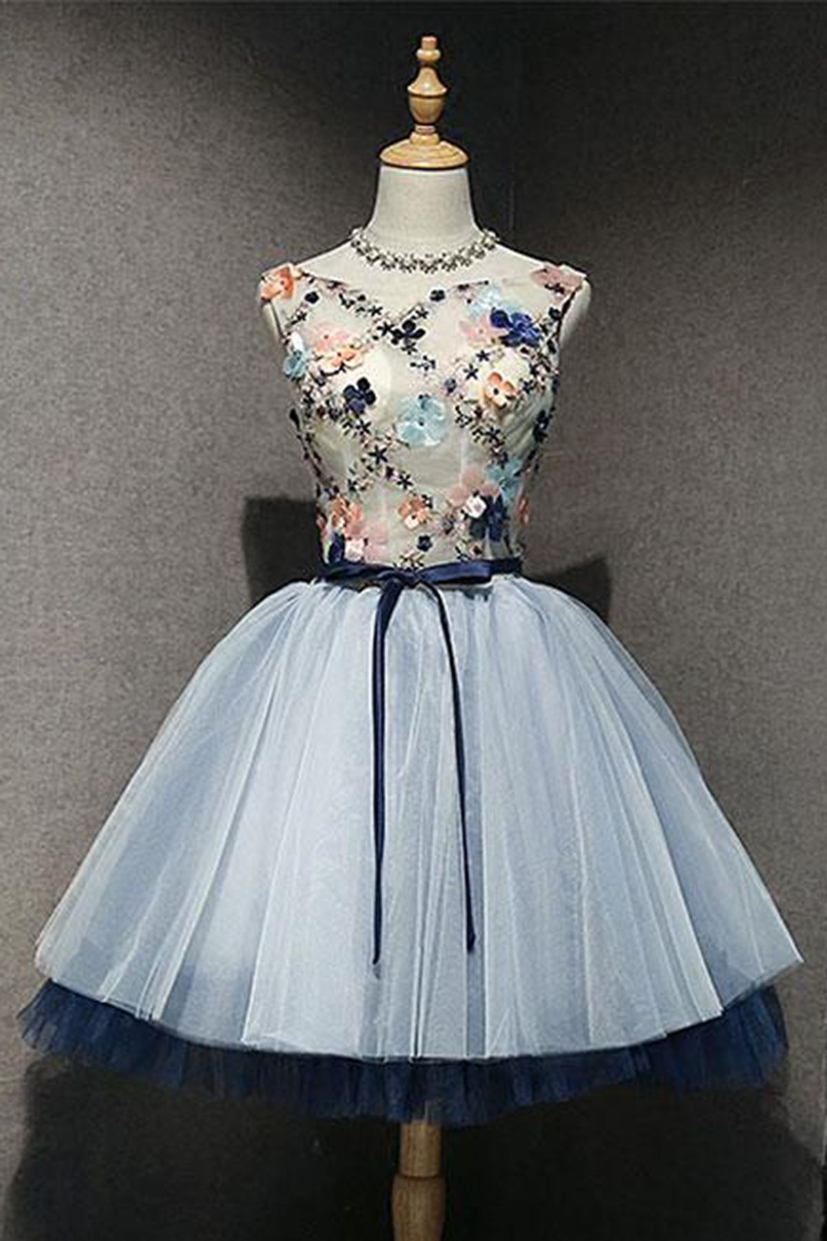 Cute blue short flower appliques sweet 16 prom dress with sash ...