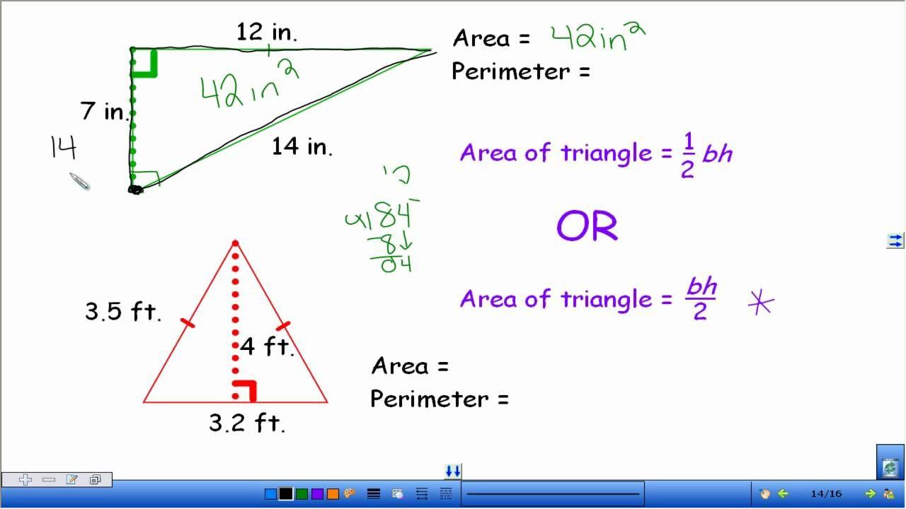 Area And Perimeter Of Triangles Perimeter Of Triangle Area And Perimeter Math Practices