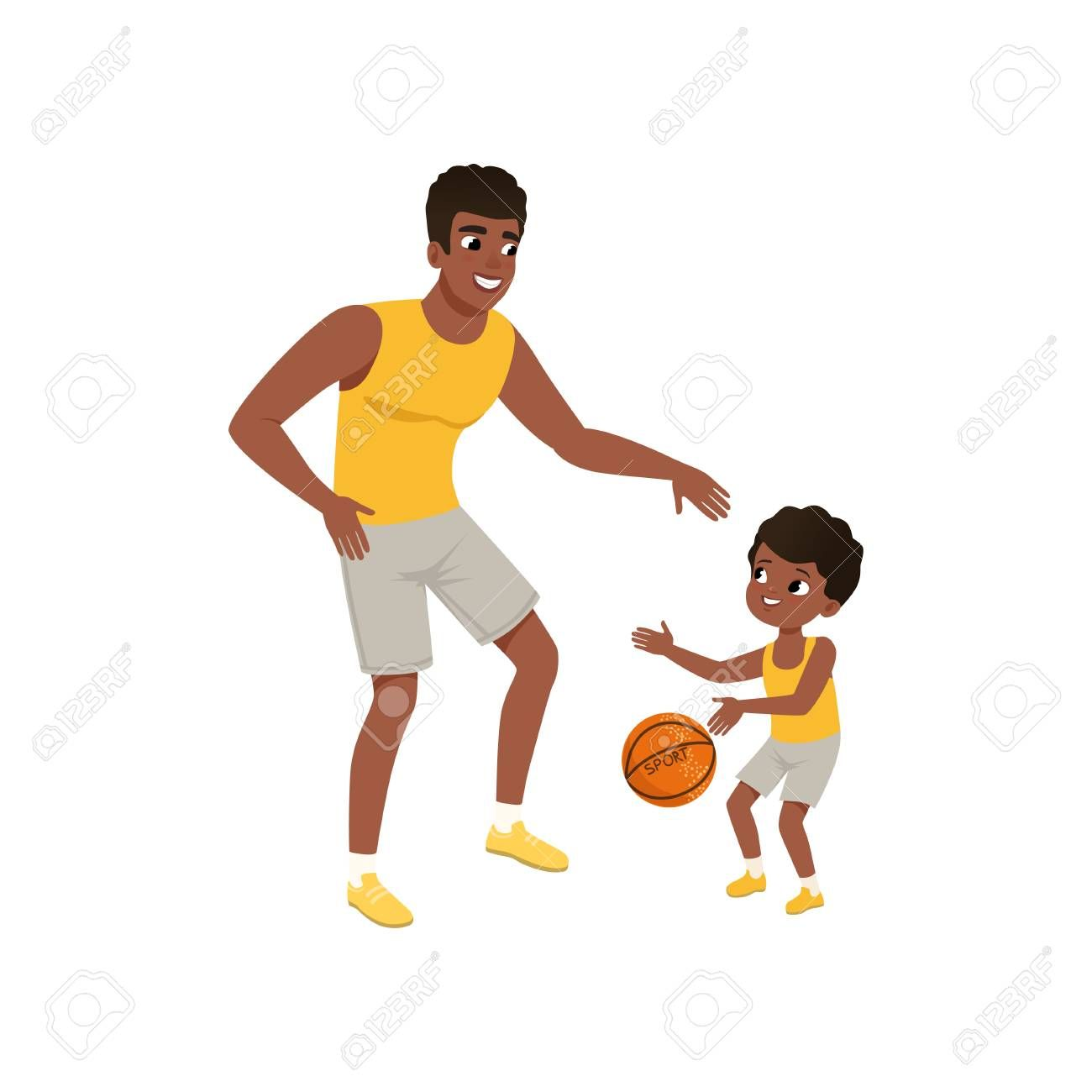 Afro American Father And His Little Son Playing Basketball Fatherhood Concept Happy Family Active Lifestyle Cartoon Ma Cartoon Man Fatherhood Afro American