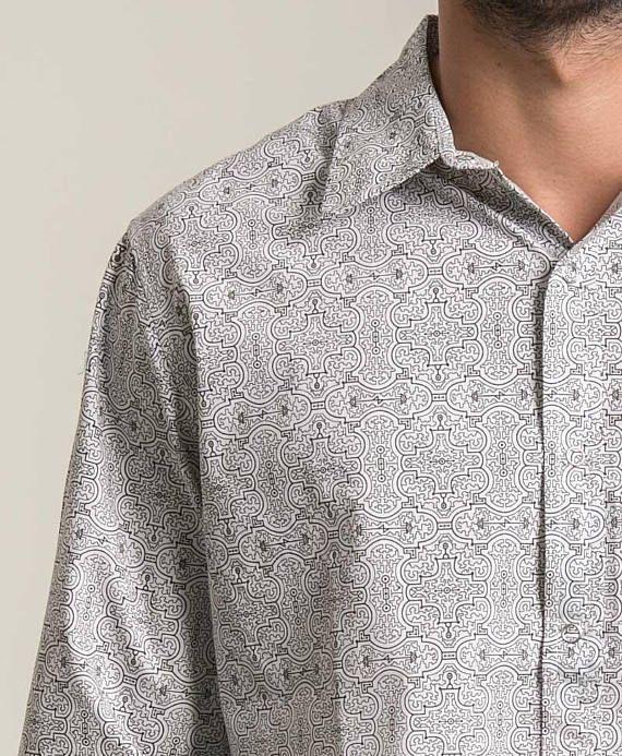 b9aada7c5f957 Long Sleeve Button Down White Shirt Men Clothing Long Sleeve Button Up Shirt  Sacred Geometry Shipibo