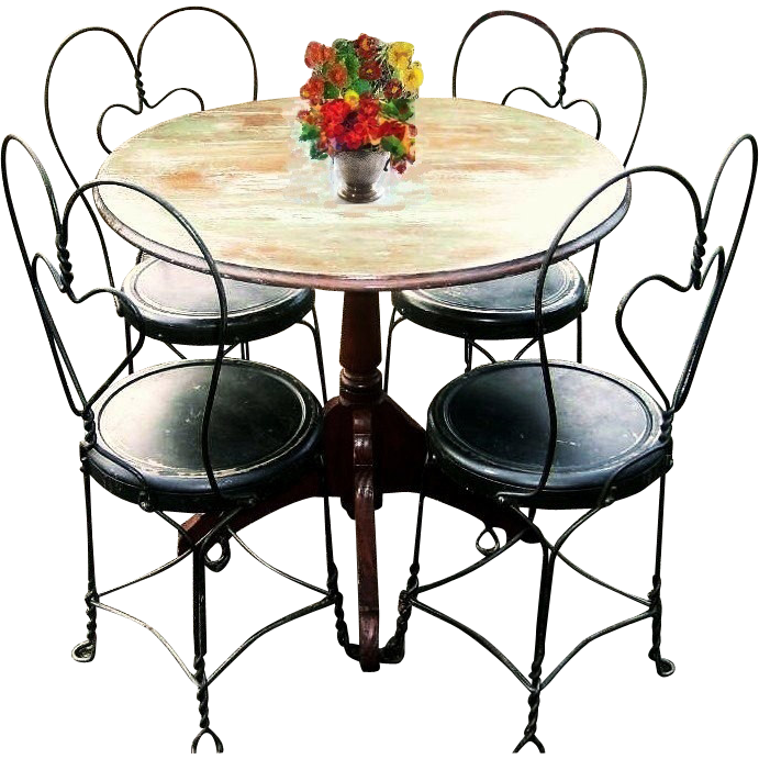 Vintage Early 1900 S Bistro Set French Country Cafe Terrace