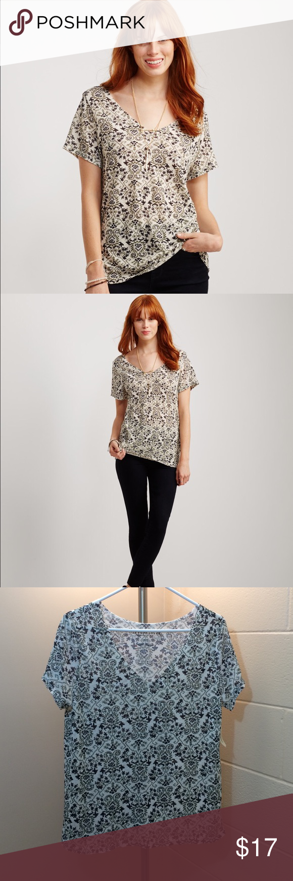 Aero Printed Frayed V Neck Tee NWT Aeropostale frayed printed v neck tee. Size small. Oversized fit. 100% polyester. Looks great with an olive jacket 😍 open to offers and 30% off bundles! Aeropostale Tops Tees - Short Sleeve