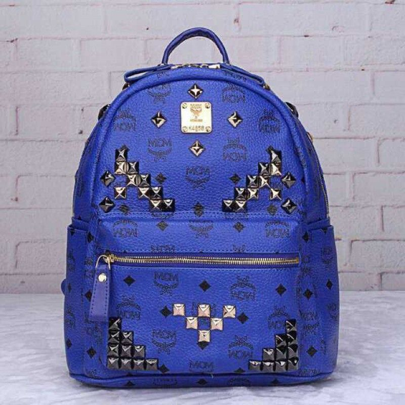 MCM Small Stark M Studded Backpack In Blue