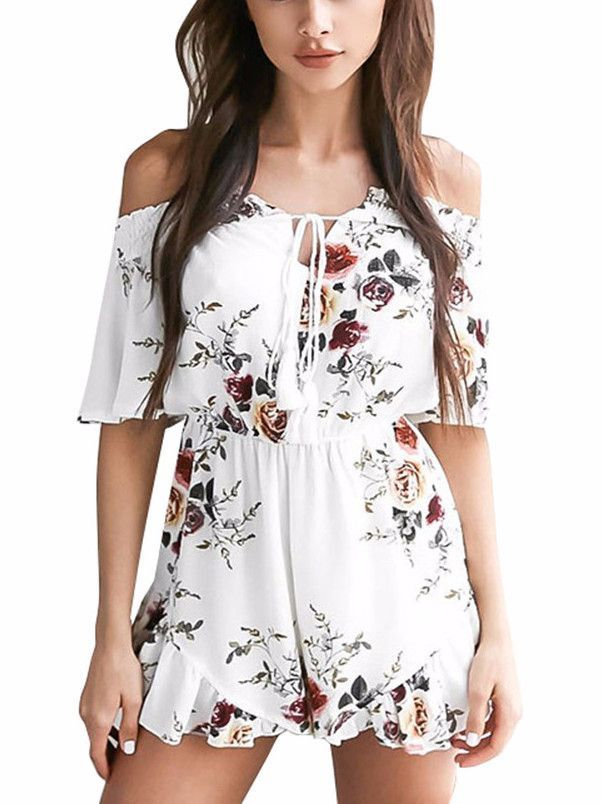 Floral Smocked Romper Gorgeous Floral Smocked Romper Off The Shoulder  Neckline Smocked 52b81c684