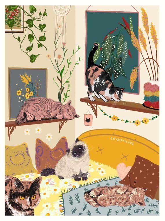 Interior Poster Living Room Wall Art Living Room Decor Etsy In 2021 Cat Wall Art Cat Art Wall Art Living Room