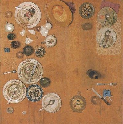 Daniel Spoerri begint aan zijn 'trap pictures', ('tableaux-pièges'),