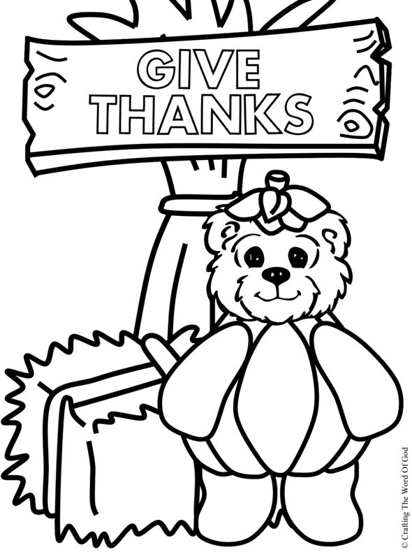 Give Thanks Bear (Coloring Page) Coloring pages are a ...