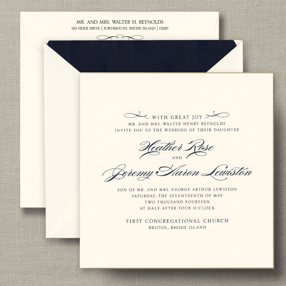 Gilt Edged Ecru Heavyweight Large Square Wedding Invitations | NEW ...