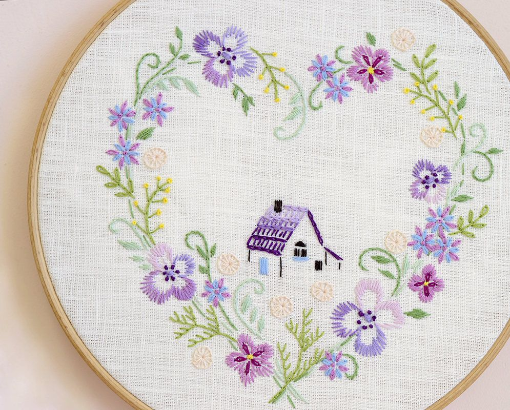 Embroidery pattern, Floral Heart embroidery, Hand embroidery, Home ...