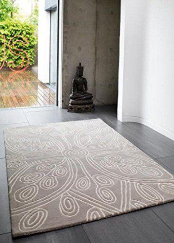 Teppich Wohnzimmer Carpet Modernes Design MATRIX KAYA BLUMEN RUG 100 Wolle 120x170 Cm Rechteckig Beige