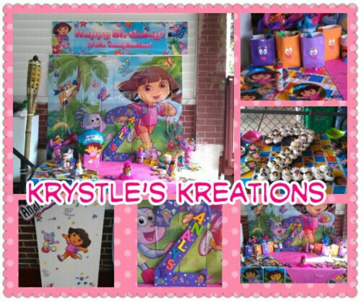 Dora Themed Birthday Party Backdrop Sign In Board Backpack Favors Cupcakes 2nd Birthday Name Display Party Decora Kids Party Backdrops For Parties Boy Birthday