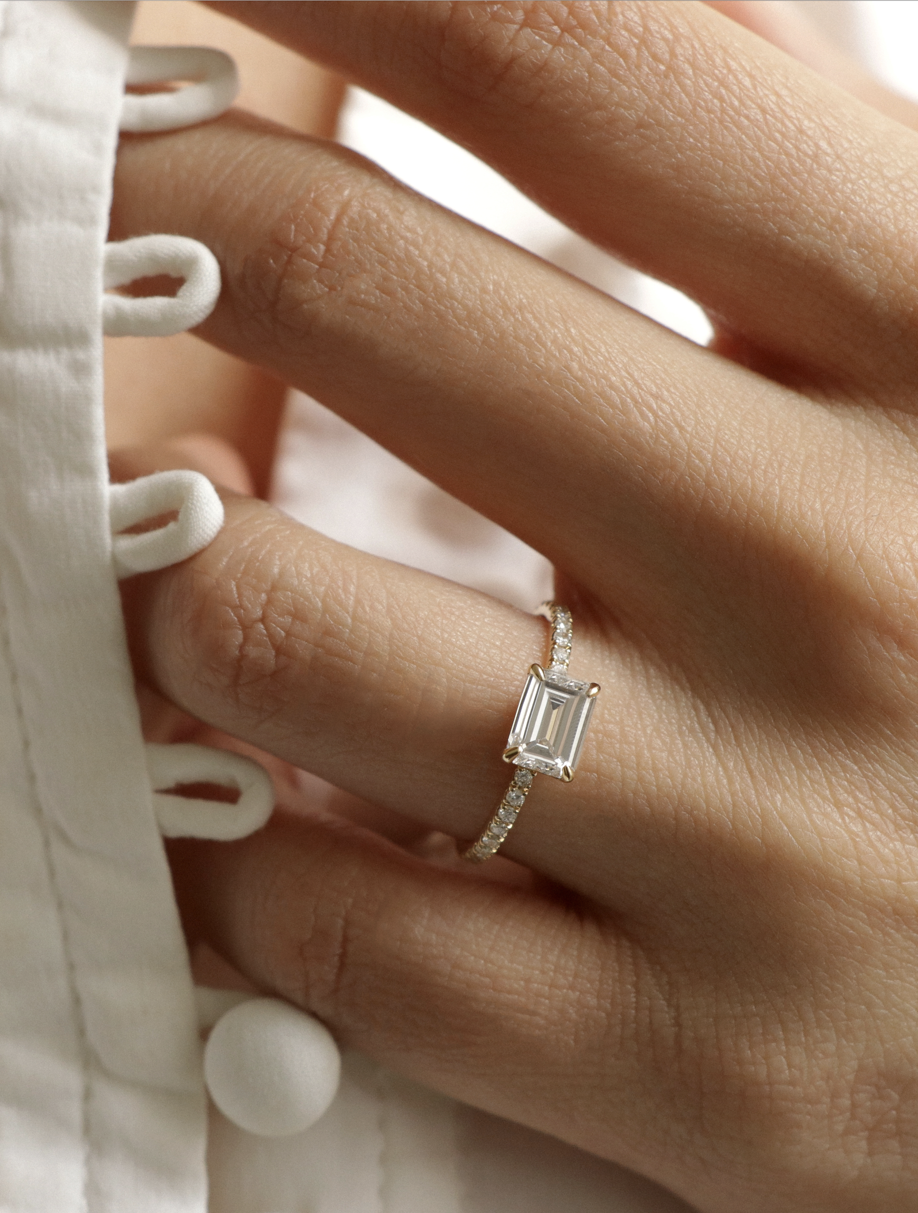 VOW Vrai & Oro Wedding Emerald Cut Diamond Engagement Ring with