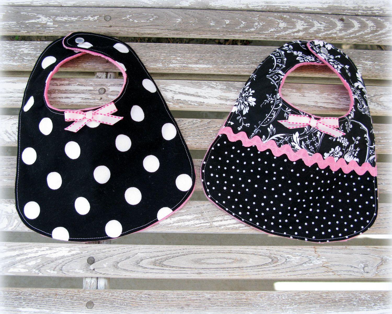 2 Baby Girl Bibs in Black and White Damask and Black Polka Dot ...