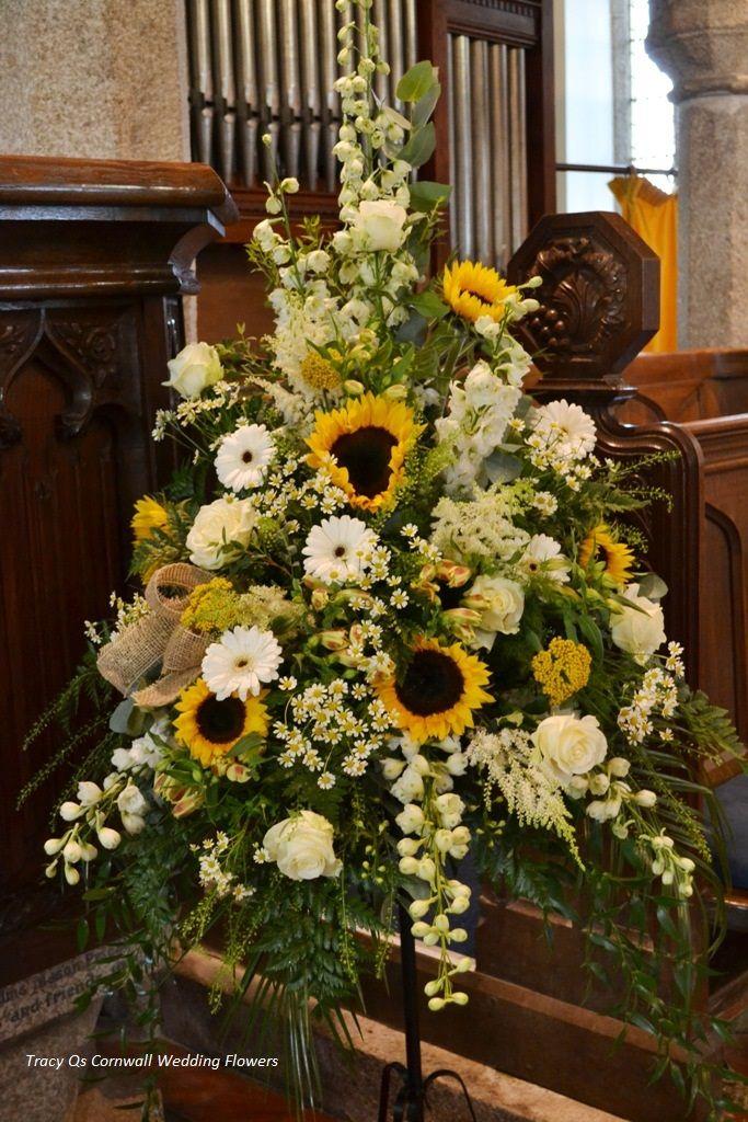 Sunflower pedestal arrangement weddings pinterest