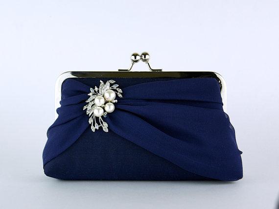 Silk Chiffon Clutch With Brooch Wedding Bag Bridal Purse For