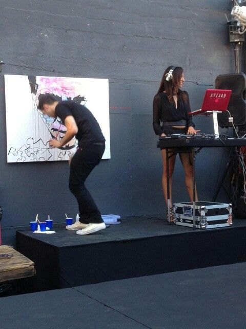 Art and dj getting it done. Aventine hollywood Alley Fashion show. LOVE Luana New Vintage Swimwear.