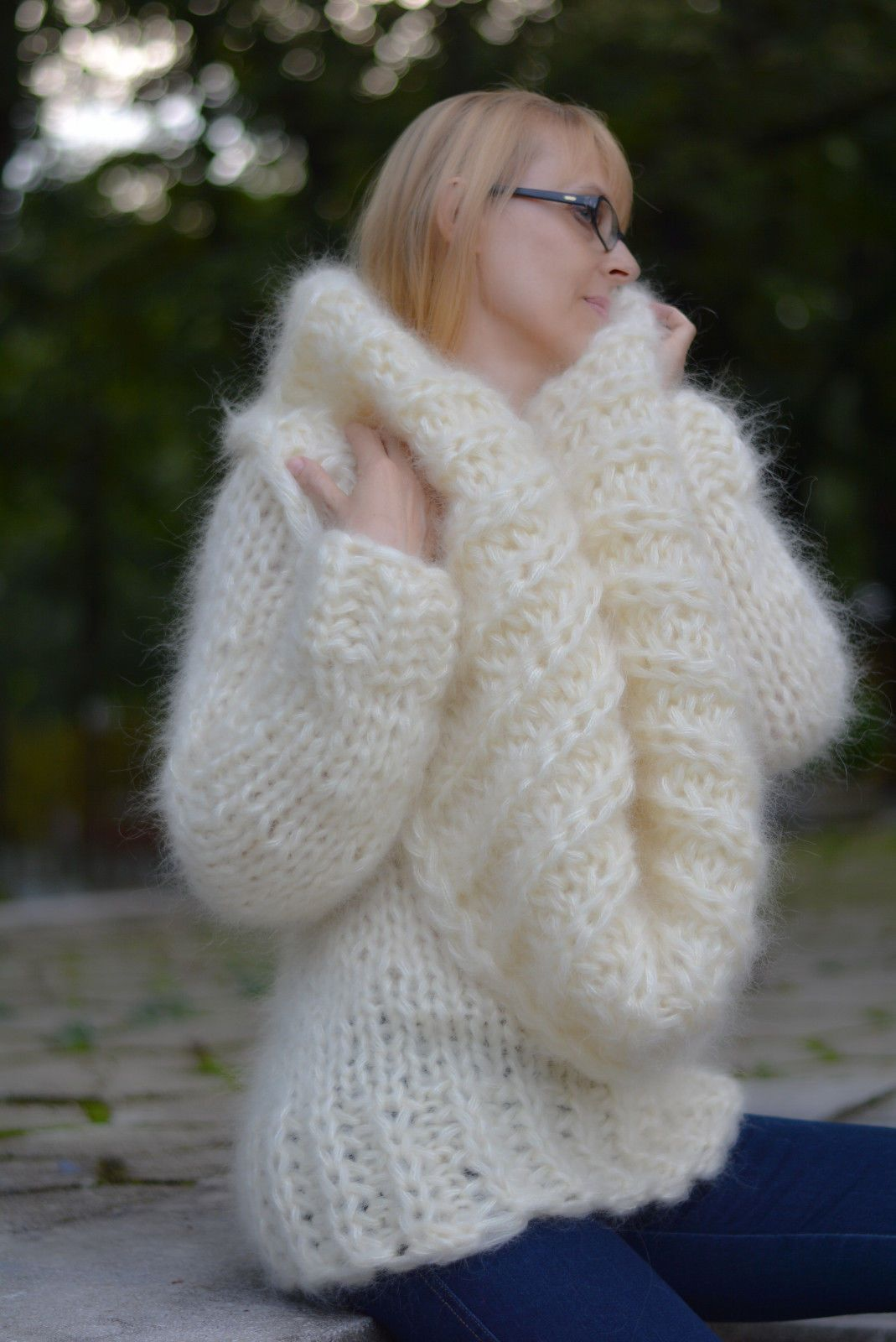 Dukyana Hand Knit Cowlneck Mohair Sweater New Chunky Thick One ...