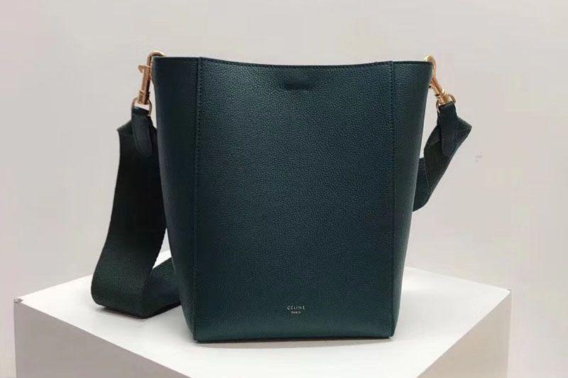 76693faad13 Replica Celine Sangle Small Bucket Bags Soft Grained Calfskin Leather Green