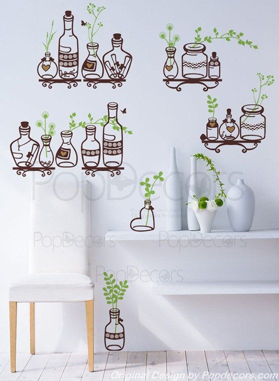 Nature Plants Wall Decals Funny Wall Stickers Kitchen By PopDecors - Wall decals nature and plants