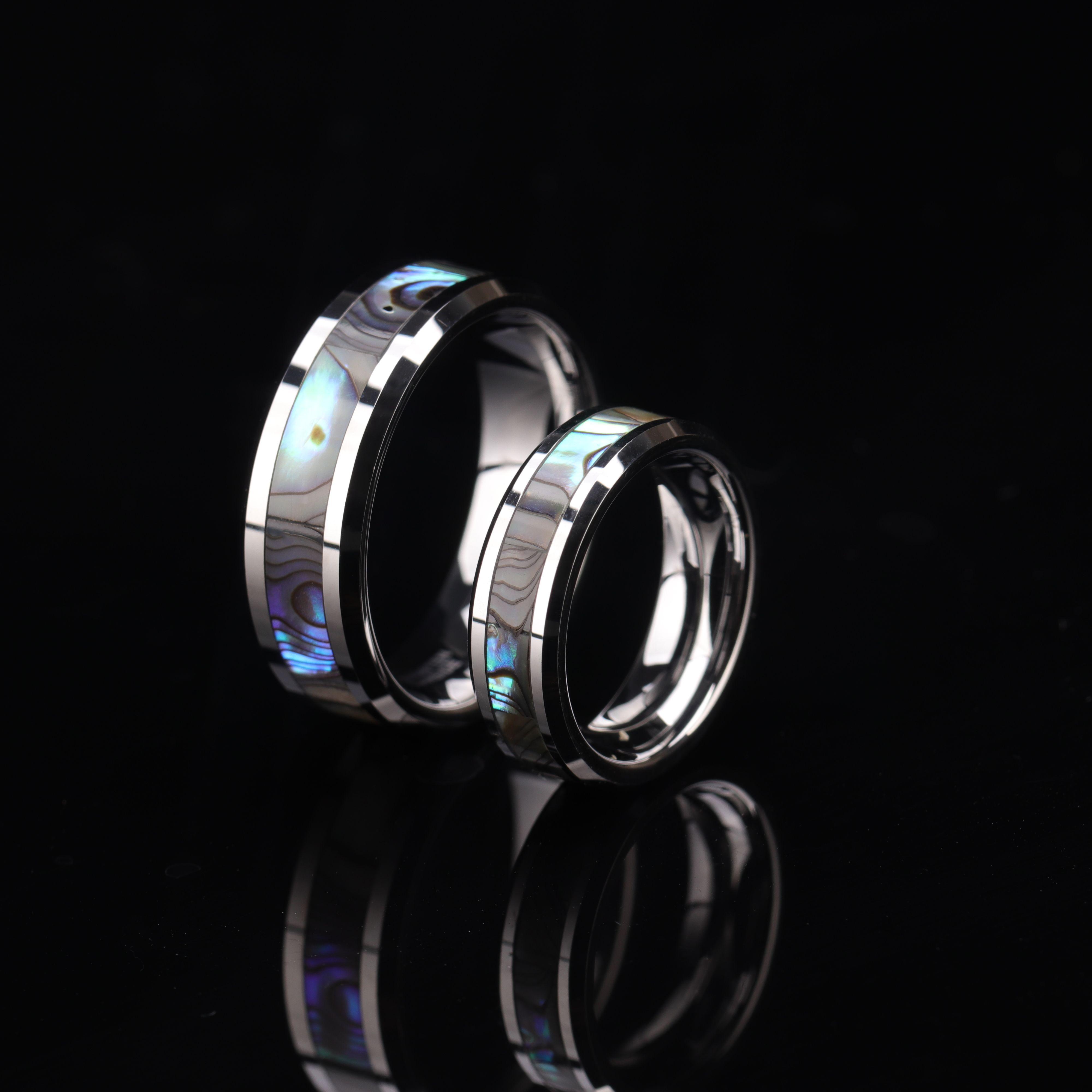 Ring Partner rings Engagement rings Wedding ring with titanium  carbon diamond