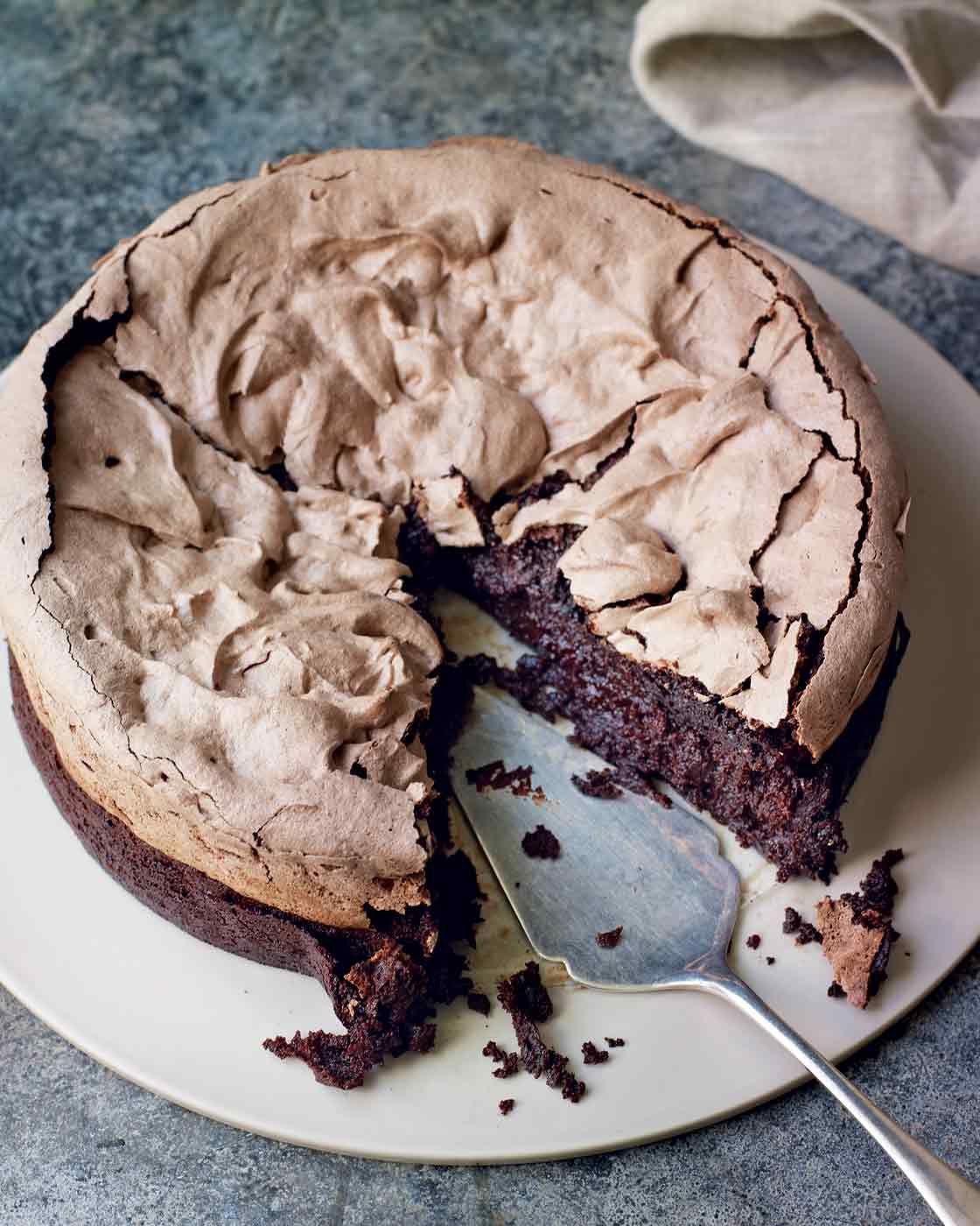 Double,baked chocolate meringue brownie