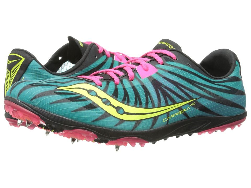 Womens Shoes Saucony Carrera XC W Teal/Pink/Citron