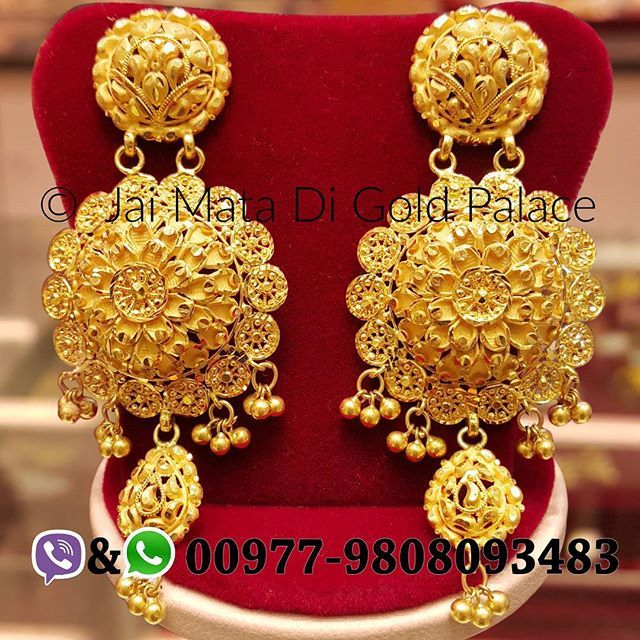 eff5caa8fa583 Name: Jhumkas Code: 673 Weight(gram): 18.43 Carat: 24 #gold #jewelry ...
