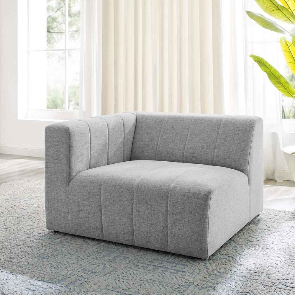 MODWAY Bartlett Light Gray Upholstered Fabric Left-Arm Chair