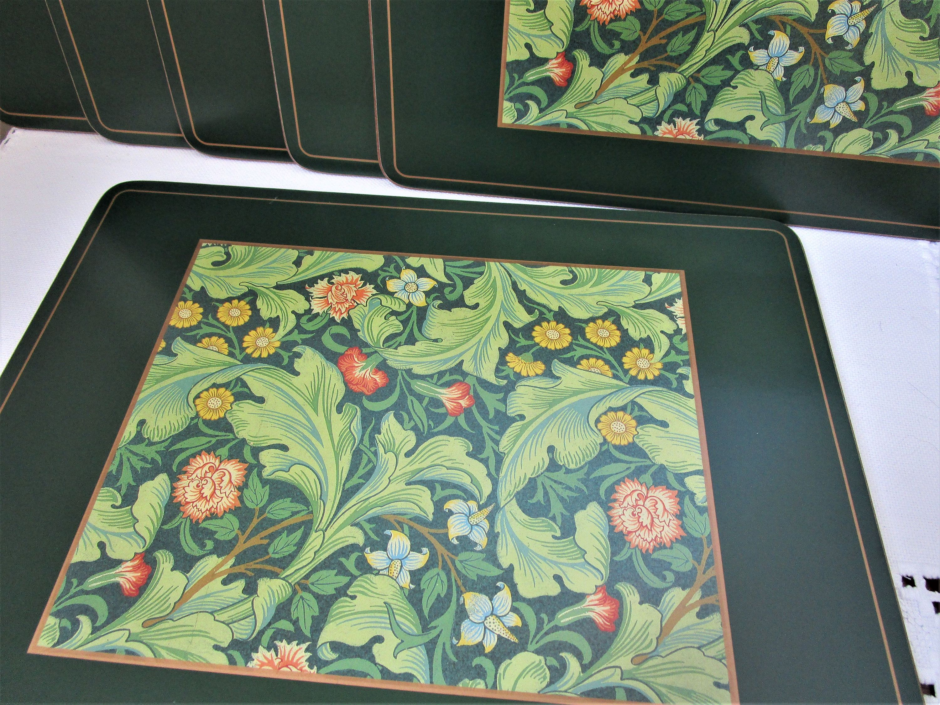 Set Of Six Vintage Placemats William Morris Design Tablemats Cork Backed Mats Dinner Mats Arts Crafts Style Home Decor Vintage Home Decor William Morris Designs Placemats Arts Crafts Style