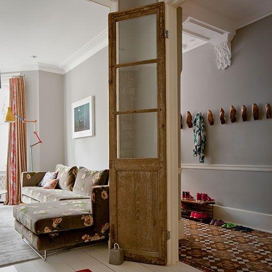 Pale Grey Hallway With Wooden Door Gray Hallway Doors