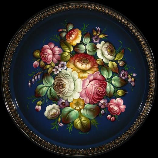 Zhostovo painting. Zhostovo Painting is a traditional Russian folk art in which metal trays are painted with lovely floral designs. The handicraft is still produced in the village of Zhostovo (Moscow Oblast)