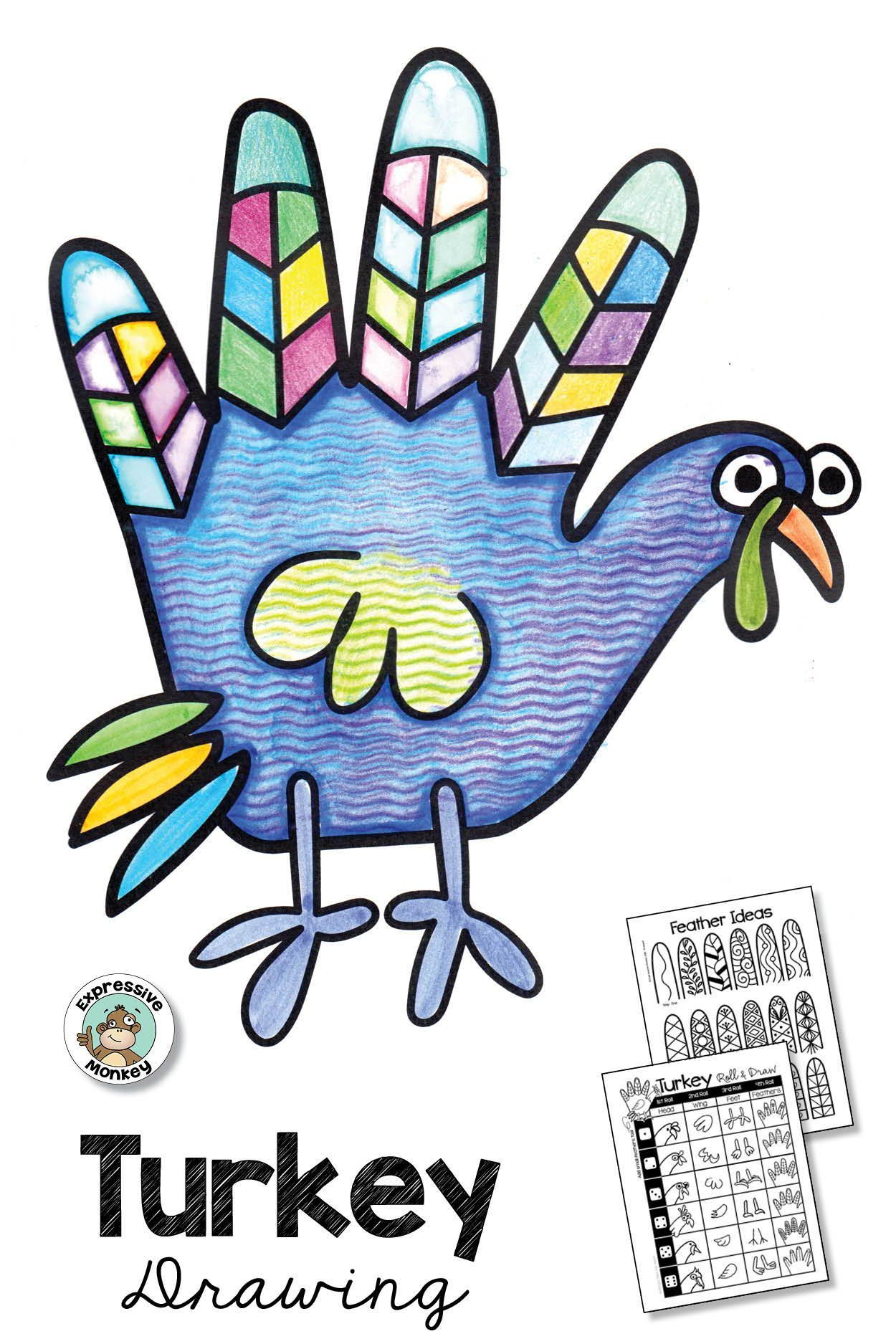 Thanksgiving Activity: Turkey Drawing and Hand Turkey with Zentangle Feathers