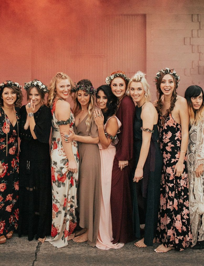 Beautiful mismatched bridesmaid dresses for a significant day
