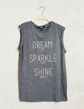 Tee-shirt dream sparkle shine gris anthracite