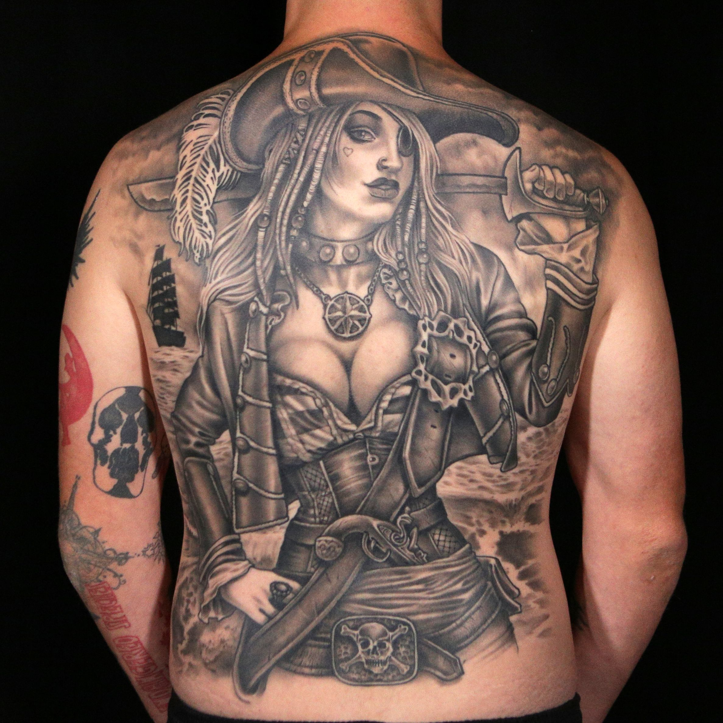 Female Pirate Tattoo by Creepy Jason Ink master, Black