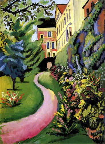 August Macke - Unser Garten mit blühenden Rabatten