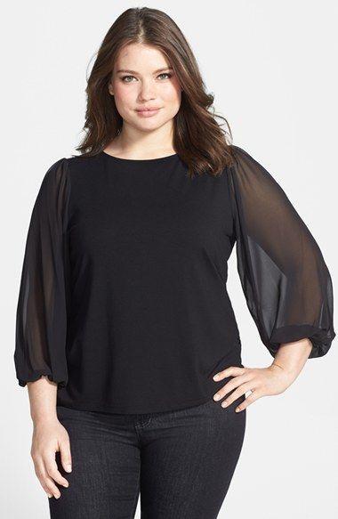 bdfb942cd57 Vince Camuto Chiffon Sleeve Knit Top (Plus Size)  plussizetops   plussizefashion  plussizeclothes