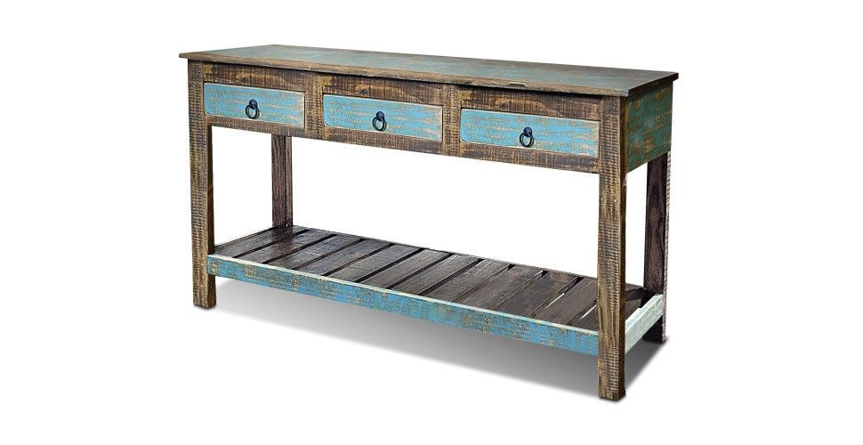 La Boca Blue Console Table Rustic Sofa Tables Reclaimed Wood Console Table Wood Console Table