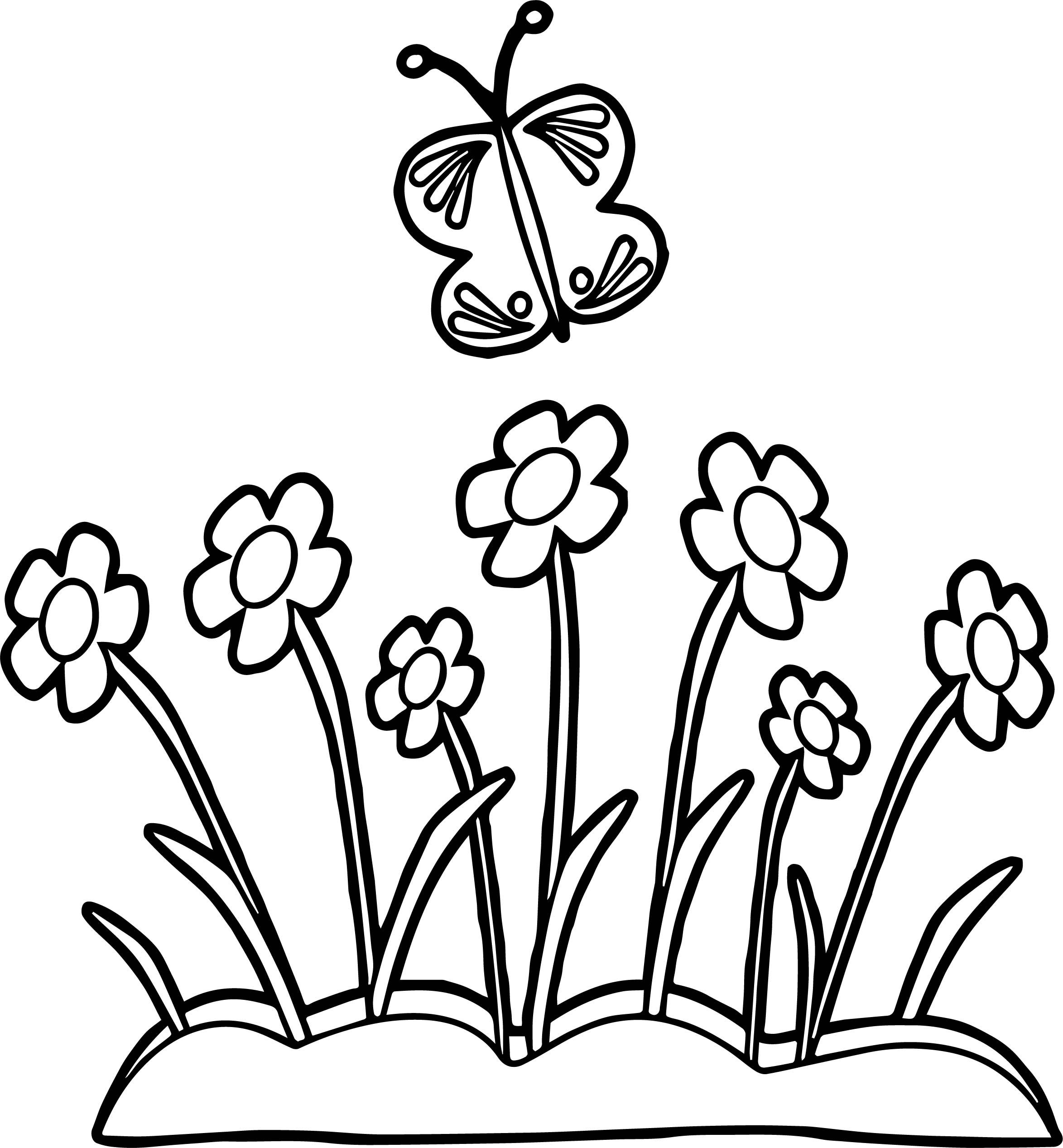 Awesome Butterfly And Flowers Coloring Page