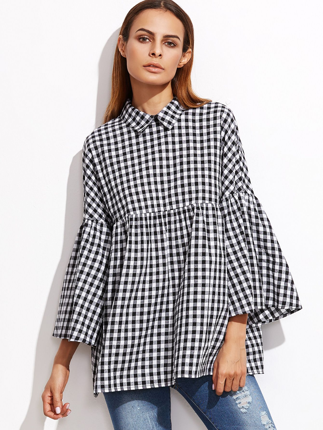 b7c944d08fd Shop Black Gingham Bell Sleeve Babydoll Blouse online. SheIn offers Black  Gingham Bell Sleeve Babydoll Blouse & more to fit your fashionable needs.