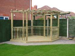 timber decking and garden pagoda Garden ideas