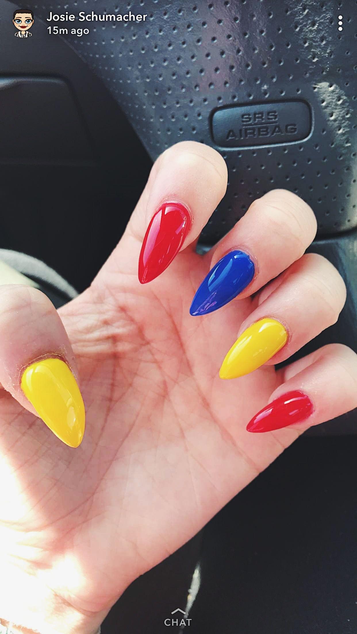 Primary Nails Nails Sencillas Rainbow Nails Colored Acrylic Nails
